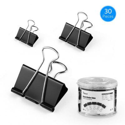 30pcs Metal Binder Clips Colorful Paper Clamp Holders Book Stationery Black