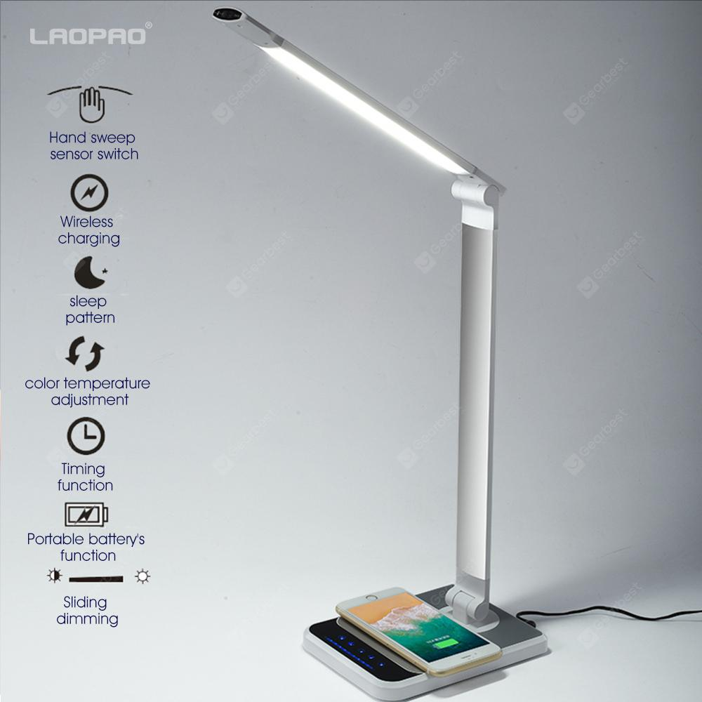 LAOPAO LED Desk Lamp 72 bulb Hand Sweep Wireless Charging Lamp 360 Degree with timer Table lamp - silver US PLUG 18W - 29.08€