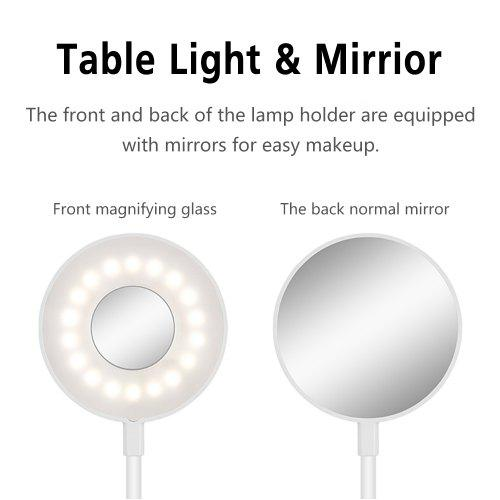 LAOPAO 3 in 1 LED Clip Desk Lamp USB Rechargeable Make-up Mirror Dimming Eye Protection LIGHT