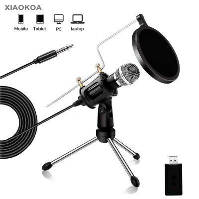 XIAOKOA Condenser Microphone for Phone with Stand for computer Recording Podcasting Mobile Android