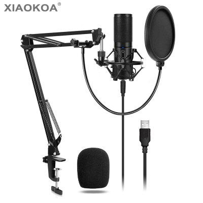 Xiaokoa PC USB Microphone Kits Q9 Condenser Computer Cardioid for Podcast YouTube Studio Recording
