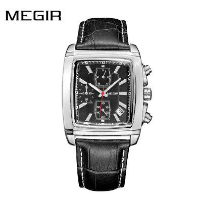 MEGIR 2028G Original Watch Men Top Brand Luxury Quartz Military Watches Leather Wristwatch