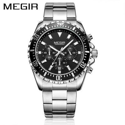 MEGIR 2064 Business Quartz Watch Men Brand Stainless Steel Chronograph Army Military Wrist Watch