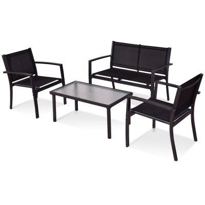 4 pcs Patio Steel Frame Coffee Table Furniture Set American Country Style Garden Set OP3316