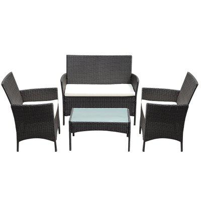 4 pcs Outdoor Patio Rattan Wicker Cushioned Sofa Table Lightweight PE Garden Furniture Set