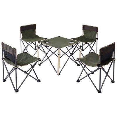 Outdoor Camp Portable Folding Table Chairs Set with Carrying Bag Durable Oxford Cloth Camp Furniture