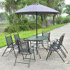 8 pcs Outdoor Patio Square Folding Furniture Set with Umbrella Durable Steel and Fabric Garden Set