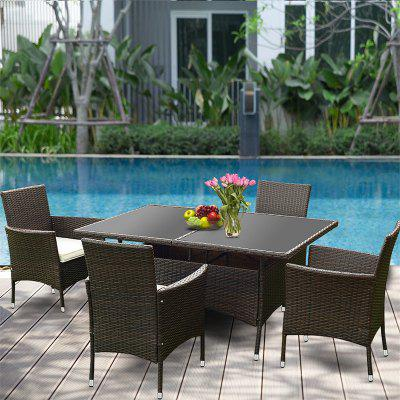 American Countryside Style 5 pcs Rattan Garden Sofa Set with Cushion Galvanized Iron Pipe Set