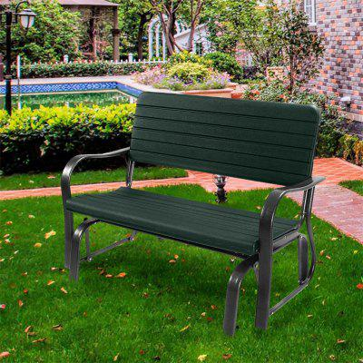 Outdoor Patio Steel Swing Bench Loveseat Sturdy and Durable Steel Bench HDPE Seat Back