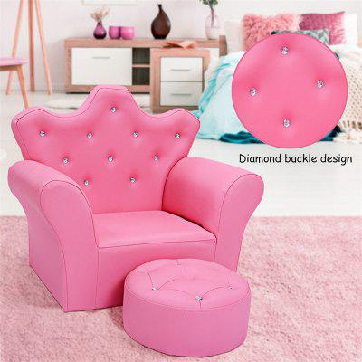 Pink Kids Sofa Armrest Couch with Ottoman PU Leather Sofa Set Lightweight Design Armchair
