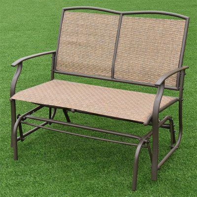 Patio Glider Rocking 2 Person Outdoor Bench Assemble Required Long Chair Durable Metal Frame