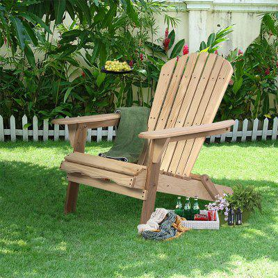 Outdoor Foldable Fir Wood Adirondack Chair Contoured Seat and Comfort Back