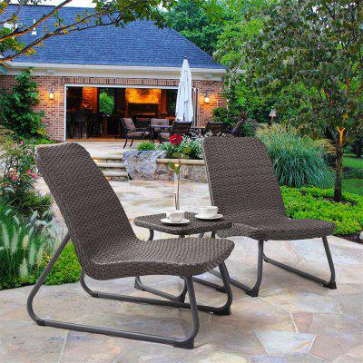3 pcs Outdoor All Weather Rattan Conversation Chair Table Set Weaved Rattan and PP Board