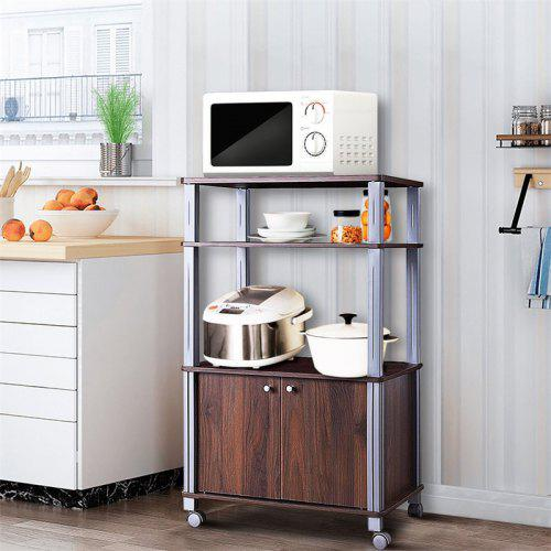 Bakers Rack Microwave Stand Rolling Storage Cart with Wheels Cabinet  Waterproof P2 MDF Kitchen Cart