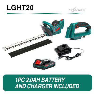 LANNERET 20V Cordless Hedge Trimmer Pole Saw Dual Action Blades Saw 2.0Ah Battery And Charger