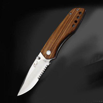 Enlan M011 M011B 8Cr13Mov Blade Wooden Handle Folding Knife with Clip Liner-lock