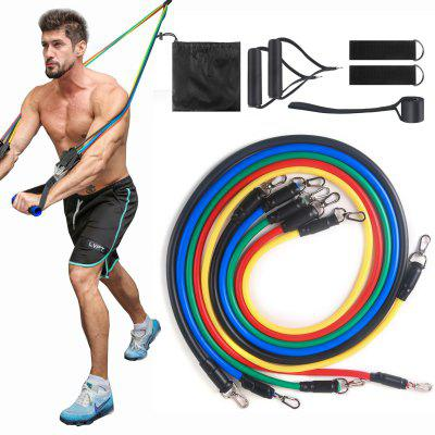 11PCS Resistance Bands Elastic Pull Rope Fitness Exercises Latex Tubes Pedal Gym Workout Yoga