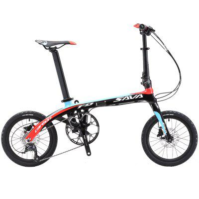 SAVA Folding Bike 16 Inches Carbon Fiber Mini Folding Bicycle for Adult Folding Bike with SHIMANO Image