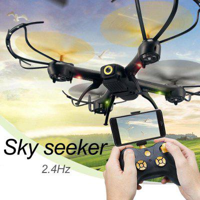 YDJ D61 Remote Control Drone LED with Camera 2.4G 4CH WiFi 6-Axis Gyro Headless Altitude Hold Mode