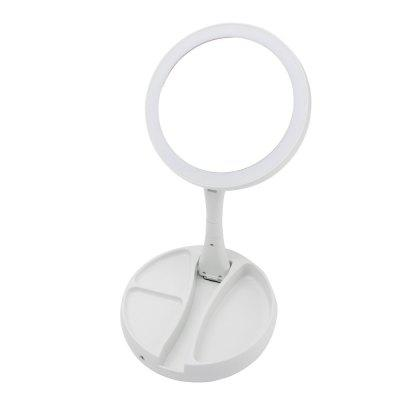 LED Lighted Folding Makeup Mirror Round Double-sided 1X10X Magnifying HD Cosmetic Mirror for Women