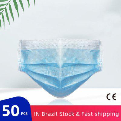 50 pcs Nonmedical Disposable Mask Anti-Pollution Face Masks Ordinary Earloops 3 Layer Meltblown Filter
