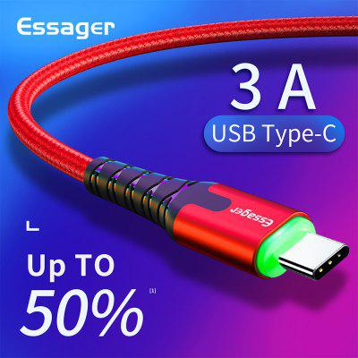 Essager 3M LED USB Type C Cable For Samsung Note 10 Plus Xiaomi 3A Fast Charge Mobile Phone Cable