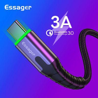 Essager 3M LED USB Type C Cable For Samsung S10 Xiaomi Note 10 3A Fast Charge Mobile Phone Cable