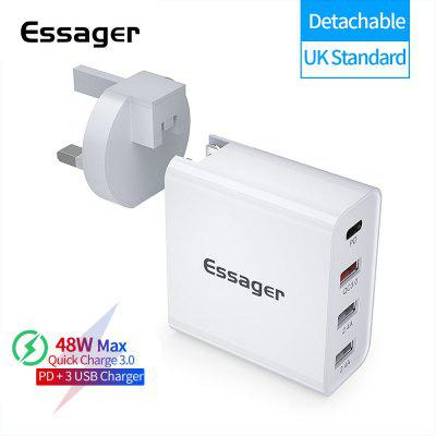Essager 48W USB-C Power Adapter 4 Port PD Charger Quick Charge 3.0 USB Charger Type C QC3.0