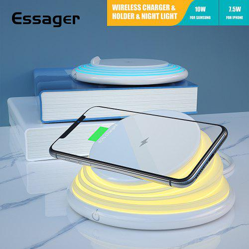 Essager Fast Qi Wireless Charger For iPhone 11 Pro Xs Xiaomi Samsung Pad Dock Station Phone Holder