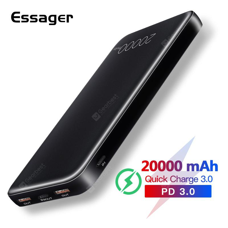 Essager 20000mAh Power Bank Quick Charge 3.0 USB C PD QC3.0 20000 mAh For Xiaomi External Battery