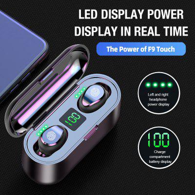 F9 Wireless Earphone Bluetooth V5.0 TWS LED Display Support iOS Android with 2000mAh Power Bank