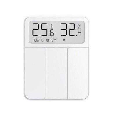 2021 Xiaomi Mijia Smart Screen Display Wall Switch Three Open Wireless Key Switch With Temperature Humidity Display APP Control