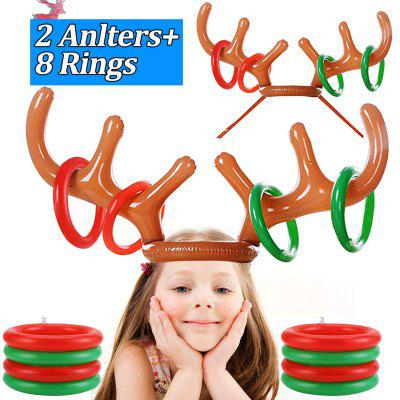 2X Inflatable Reindeer Antler Hat Ring Toss Game Holiday Party Boys Girls Funny