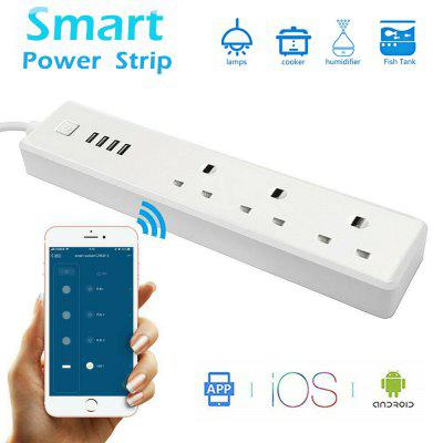 Wifi Smart Power Socket Strip Wireless 3 UK Plug 4USB Extension for Alexa Google