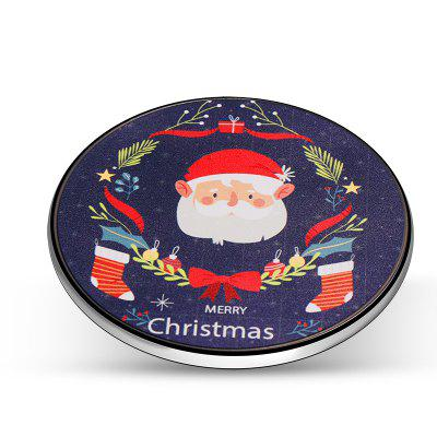 Wireless Charger Christmas Theme Pattern Fast Charging Pad for Apple and Android Phones