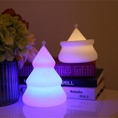 LED Silicone Colorful Night Light Cute Christmas Trees Shape Lamp Baby Home Decoration Light
