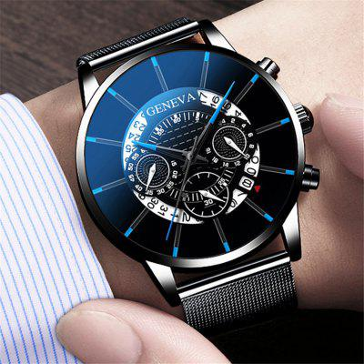 Mens Watch Stainless Steel Calendar Quartz Wristwatch Men Sports Watches