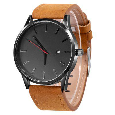 Men Quartz Watch Sport Wristwatch Leather Strap Mens Calendar Watches