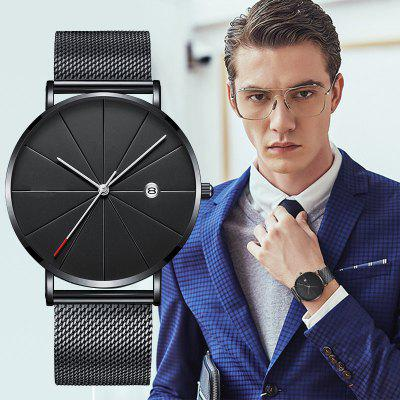 Menss Fashion Ultra-thin Stainless Steel Watch Leisure Business Quartz Watches Date Clock