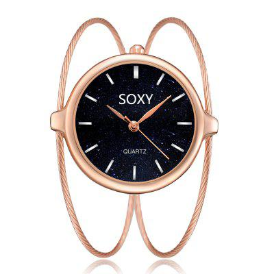 SOXY Luxury Analog Dial Watch Steel Wire Watches Casual Party Dress Quartz Watch