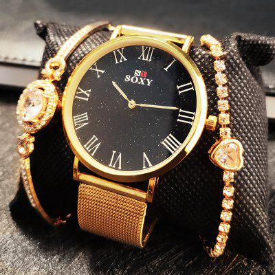 Women Watches Bracelet Set Starry Sky Ladies Bracelet Watch Casual Quartz Wristwatch Female Gift