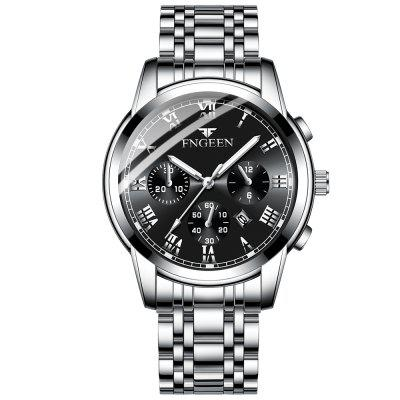 Men Stainless Steel Watch Business Casual Watches Quartz Clock With Date Wristwatch