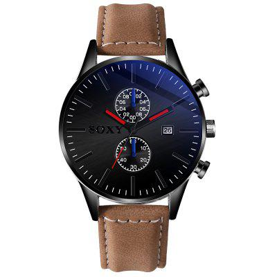 New Hot Mens Leather Belt Watch Casual And Simple Calendar Mens Fashion Wild Boys Watch