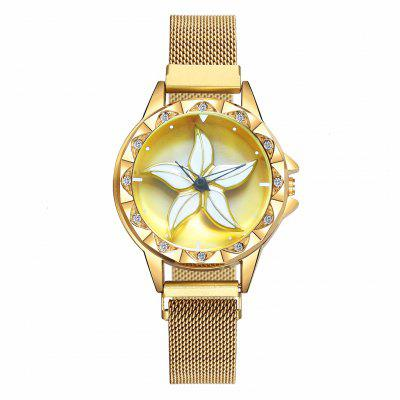 Women Magnet Buckle Rotating Flower Watch Luxury Ladies Stainless Steel Quartz Watch Clock