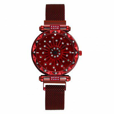 Women Magnet Buckle Rotating Diamond Dial Watch Luxury Ladies Stainless Steel Quartz Watch Clock