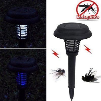 Summer Outdoor Led Solar Power Lawn Fence Lamp UV Mosquito Bug Zapper Killer Garden Yard Light