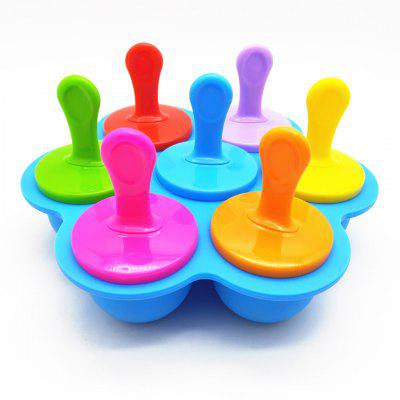 Multifunctional Popsicle Mold Silicone 7 Hole Popsicle Mold Colorful Diy Ice Cream Mold Ice Tray Popsicle Creative Cake Mold