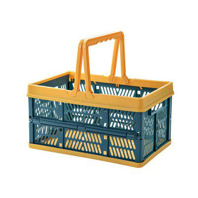 Collapsible Plastic Storage Crate With Folding Handles Container Easy For Shopping Save Space And Time