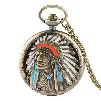 New Style Vintage Chieftain Green Ancient Large Pocket Watch Indian Elderly Pattern Flap for Both Men and Women