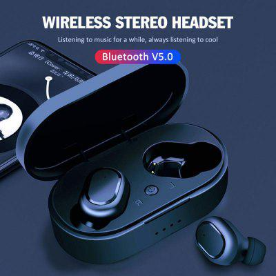 M1 Ture Wireless Headset Bluetooth 5.0 TWS Earbuds  In-ear Headphones with Charging Box - Black